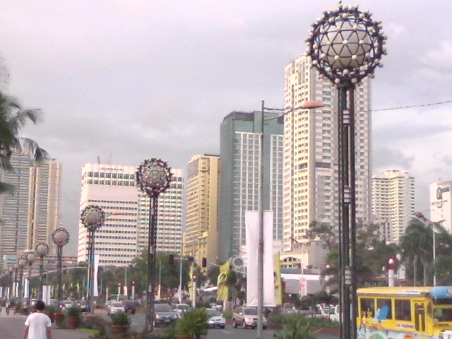 High rise office buildings, condominiums and hotels along Roxas Boulevard