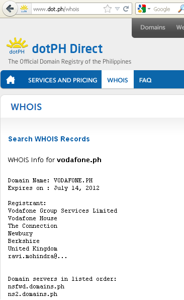 Vodafone Philippines domain TLD