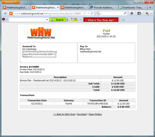 WebHostingWorld.net invoice