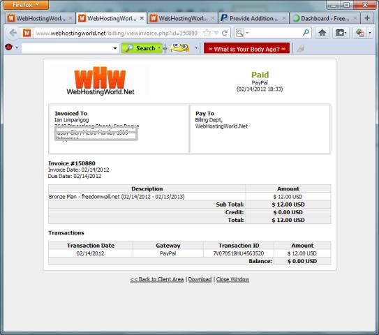 WebHostingWorld.net invoice