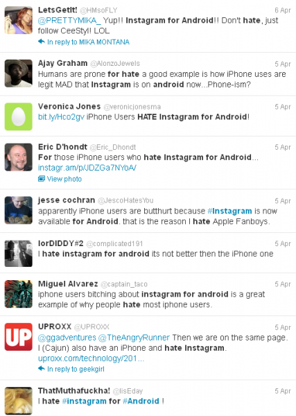 iphone users on war with android users in twitter