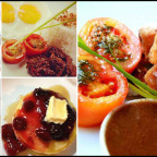 Kanto Freestyle Breakfast Meals (from top-left, clockwise: Mixed Berry Pancake, Batangas Tapa, Breaded Pork chop, and Kanto Eggs Benedict)