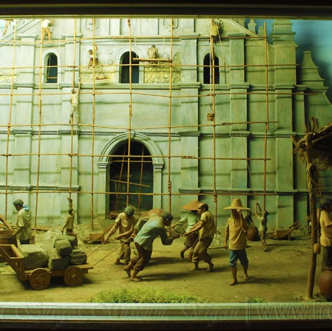 diorama of the construction of vigan cathedral