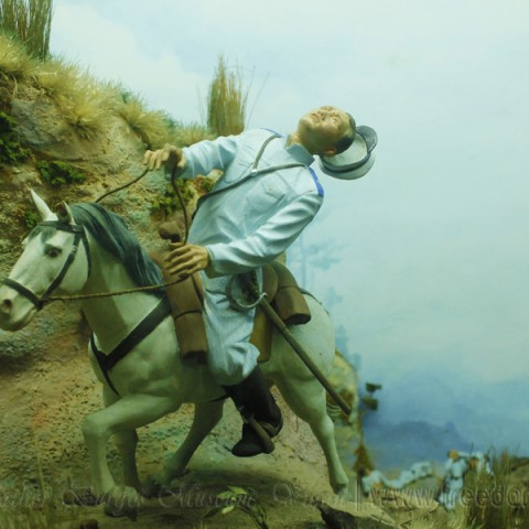 diorama of the hero's death