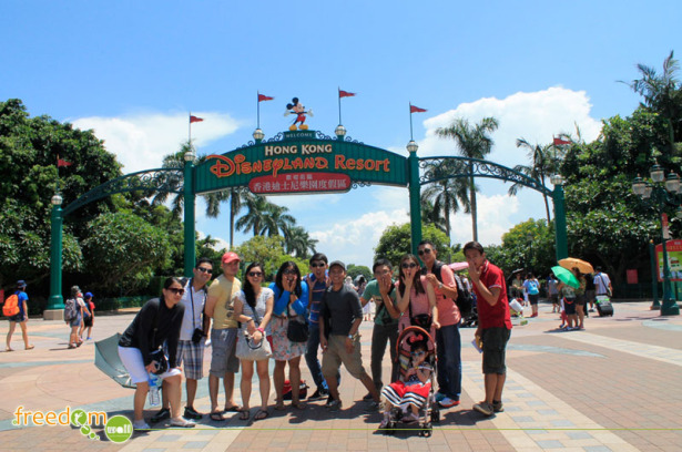 My friends and I at Hong Kong Disneyland