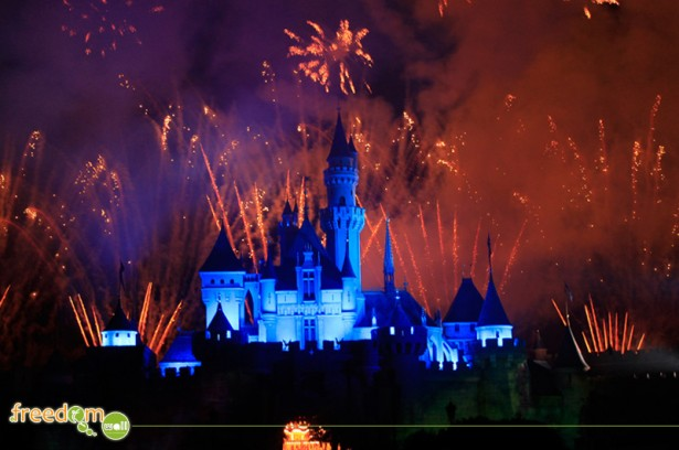 Sleeping Beauty's Castle with fireworks in the background