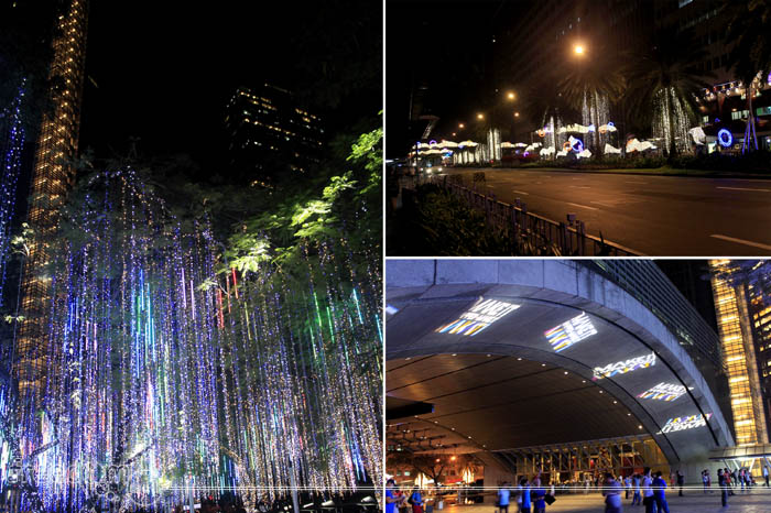 Around Ayala Triangle Gardens (top-right: Ayala Avenue; bottom-right: Ayala Tower One; Left: Lightshow)