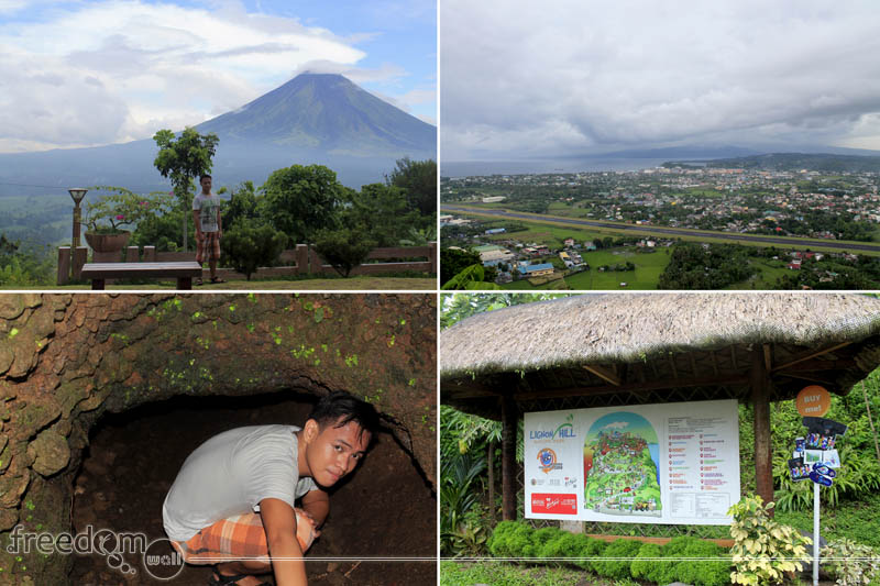 Lignon Hill (From top-left: Mayon Volcano, Legazpi Airport Runway, Lignon Hill Entrance, Japanese Tunnel)
