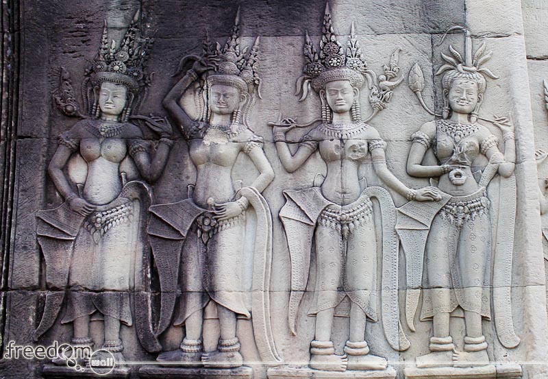 Angkor Wat's Apsara wall carvings