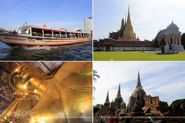 Day 2 Stops (Top-left: Chao Phraya River; Top-right: THe Grand Palace; Bottom-right: Wat Phra Si Sanphet of Ayutthaya; Bottom-left: The Reclining Buddha of Wat Pho)