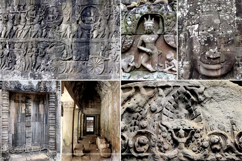 Bayon Temple's wall carvings and designs