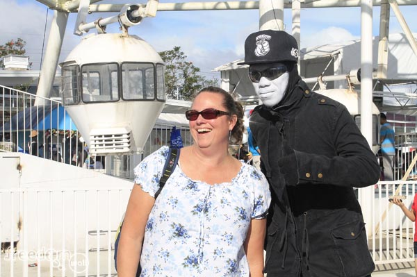 Christina posing with the mime artist