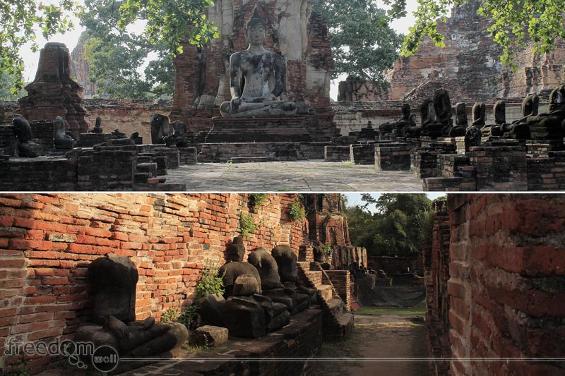 Decapitated Buddha Images (Top: Satellite vihara; Bottom:The gallery or Rabieng Khot)