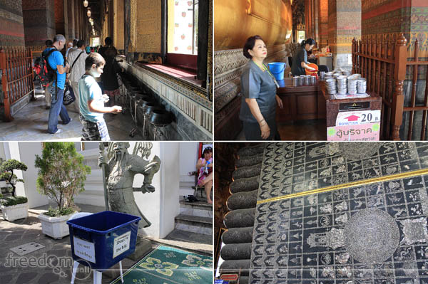 Inside and Around the Temple of Recling Buddha (Top-left: Child wishes for every coin dropped; Top-right: Donation booth in exchange of wishing coins; Bottom-right: Foot indicating 108 auspicious symbols of Buddha; Bottom-left: Crate containing bags for visitors' sandals)