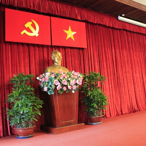The Bust of President Ho Chi Minh at the conference hall