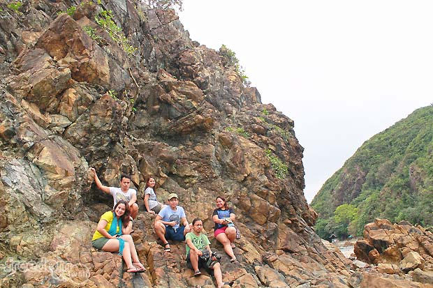 "A group photo in an Aniao rock with Corinne ""Grace"" Santelices, Mary Jane ""Queennie"" Garay, Karen Salting, Teddy Buagas, Roderick Ordonez, and Ian Limpangog"