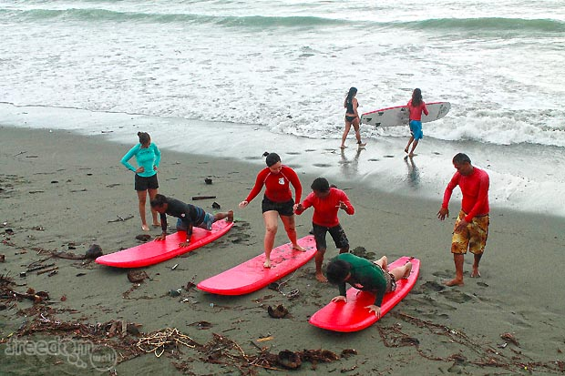 Baler surfing lessons