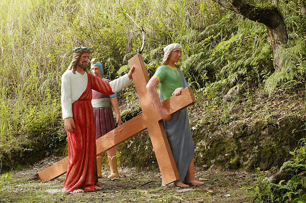 Camiguin stations of the cross: Simon of Cyrene helps Jesus carry the cross
