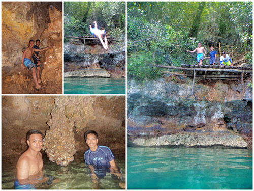 Makukuob Cave a.k.a Diving Cave. Yes, You have to cliff-dive to return to the boat after a short spelunking.