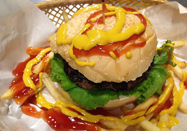 Stuff Over's Barbecue burger with Mustard