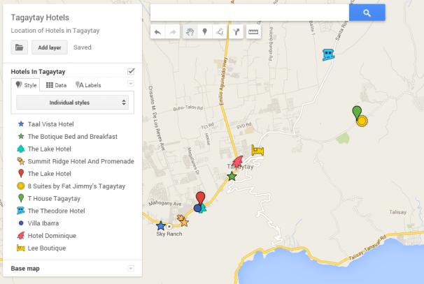 Tagaytay Hotel Map