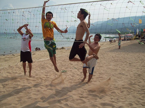 volleyball at laiya with Ralph Vincent Burias and Jake Acedera Tan