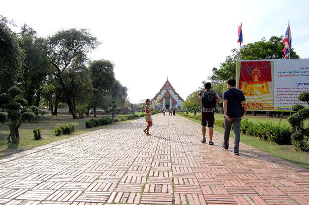Approaching Wihan Phra Mongkhon Bophit in Ayutthaya