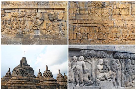 Candi Borobudur reliefs and stupas