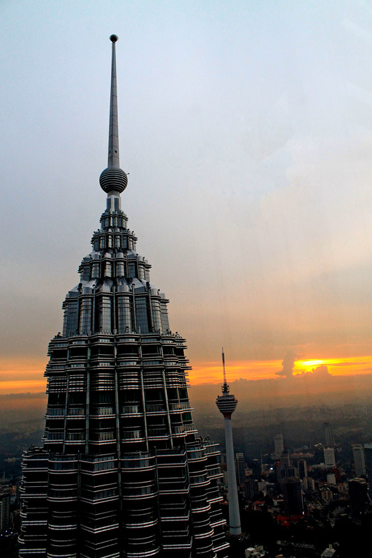An awesome sunset at Petronas Twin Towers