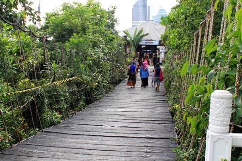 The hanging bridge to Malaysia's Cultural Village at the foot of Menara KL