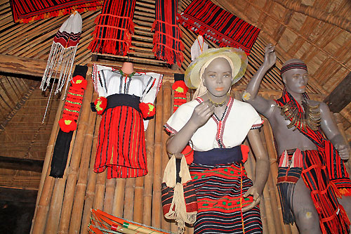 A traditonal exhibit inside an Ifugao house