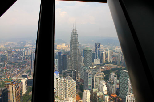 A view of downtown Kuala Lumpur from KL Tower observation deck
