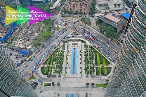 The view of Jalan Ampang and Jalan P Ramlee intersection from Petronas Skybridge