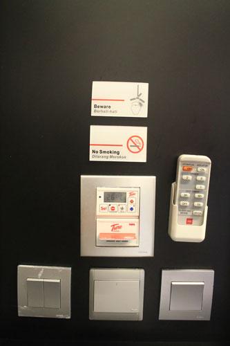 Tune Hotel Downtown Kuala Lumpur room control panel