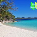 A stunning fine white sand beach in Malcapuya Island, Coron, Palawan