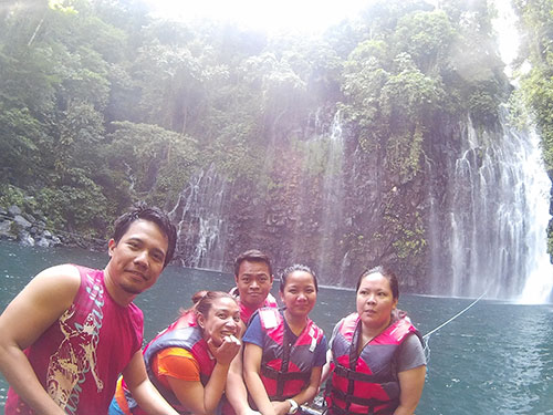 "Corrine Grace ""Cookie""Santelices, Karen Salting, Ian Limpangog, Teddy Buagas, and Jo Ann Marpuri at Tinago Falls"