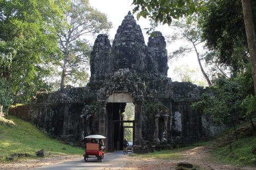 One of the four entrance/exit gates or gopura of Angkor Thom.
