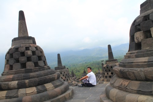 With the stupas of Candi Borobudur