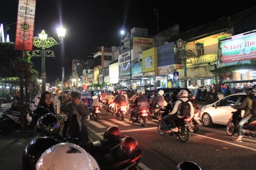 Jalan Malioboro, Yogyakarta's major thoroughfare is transformed into a vibrant entertainment district at night