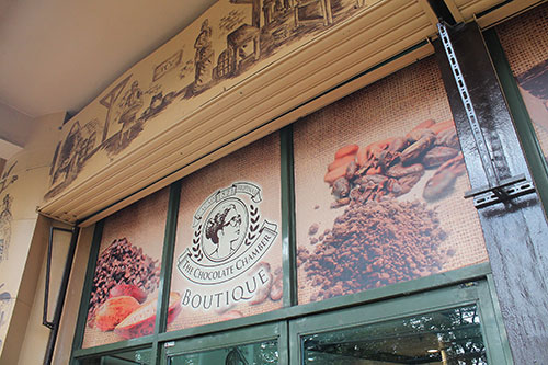 The Chocolate Chamber banner outside its boutique at Sarrosa International Hotel
