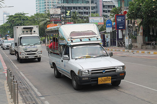 A sonthaew plying the Beach Road of Pattaya