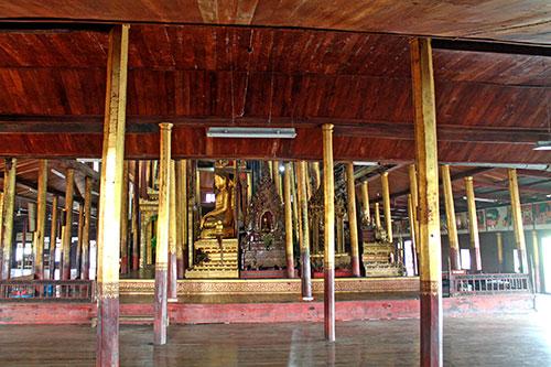 The wooden chamber inside Nga Phe Kyaung Monastery