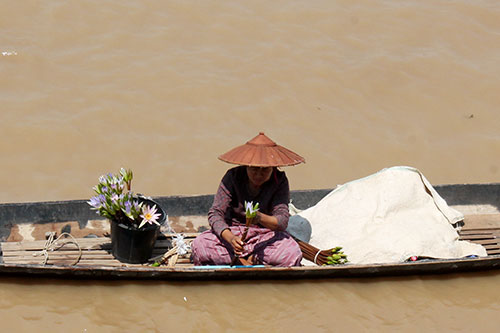 Lotus vendor floats the busy water lanes of Inle Lake