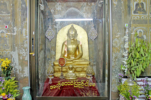 The Buddhas inside the Swesandaw Pagoda are adorned with diamonds at the crown