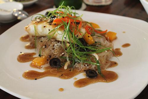 Egg battered grouper fillet with ripe mango, noodle salad, and asian dressing