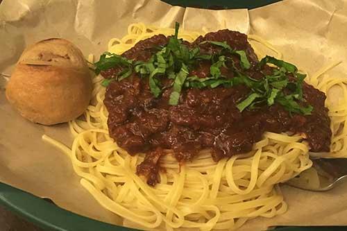 Linguine meatballs with tablea marinara sauce