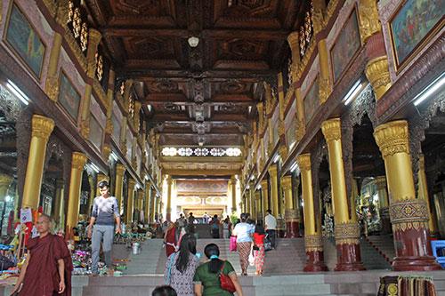 A stairway to Shwedagon Pagoda