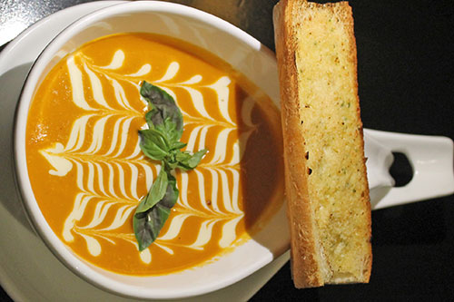Tomato Basil Cream with French Toast
