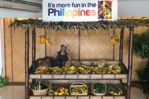 A makeshift fruit stand that mimics Philippines' traditional fruit market