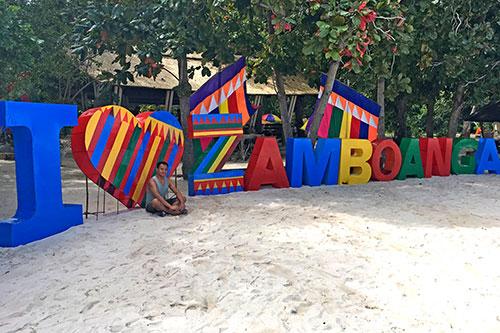 I love Zamboanga marker at the Great Santa Cruz Island